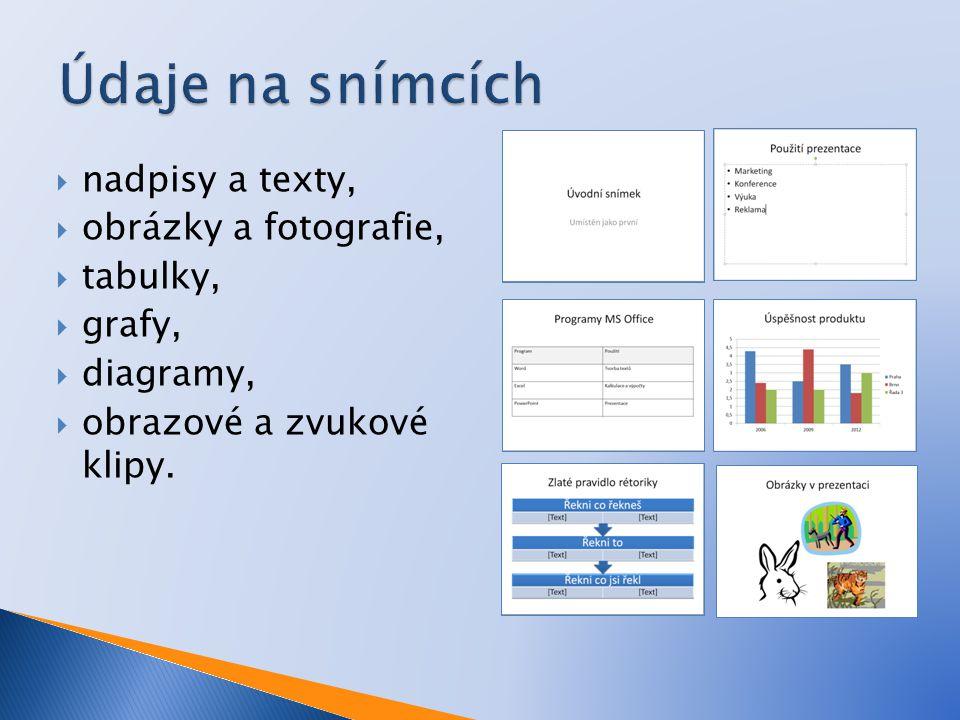  nadpisy a texty,  obrázky a fotografie,  tabulky,  grafy,  diagramy,  obrazové a zvukové klipy.