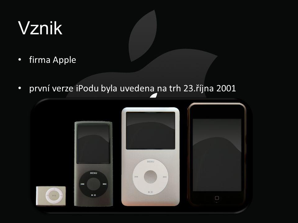 Vznik firma Apple první verze iPodu byla uvedena na trh 23.října 2001