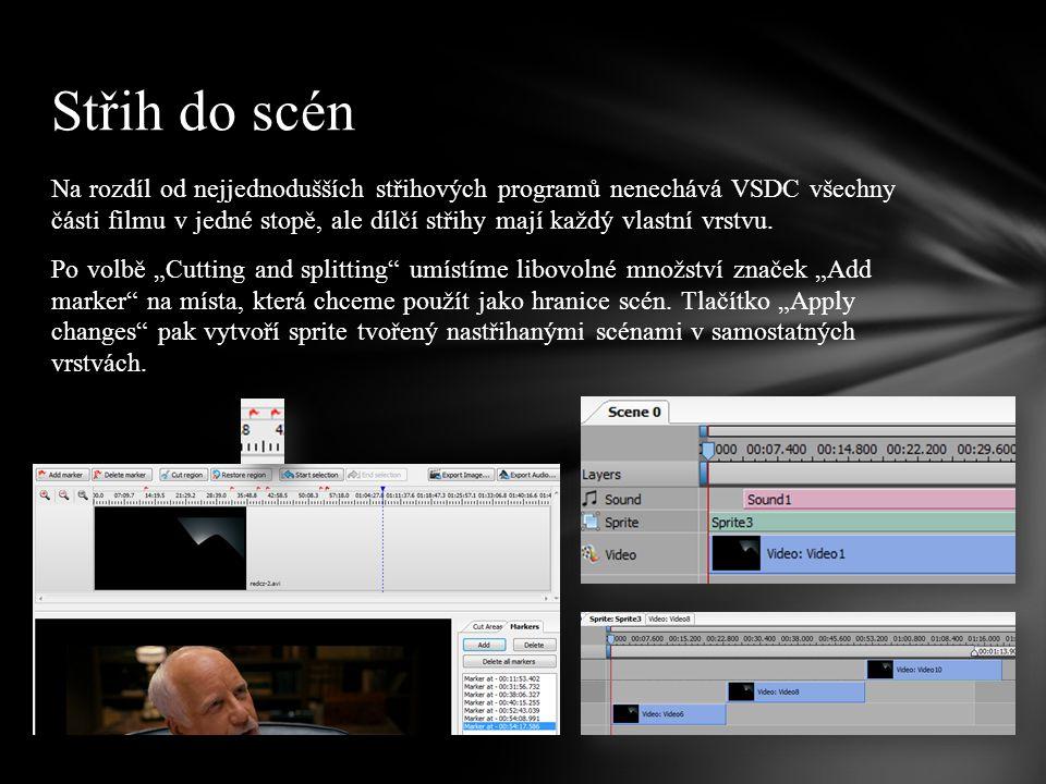 Na rozdíl od nejjednodušších střihových programů nenechává VSDC všechny části filmu v jedné stopě, ale dílčí střihy mají každý vlastní vrstvu.