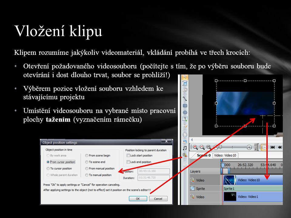 Klipem rozumíme jakýkoliv videomateriál, vkládání probíhá ve třech krocích: Otevření požadovaného videosouboru (počítejte s tím, že po výběru souboru bude otevírání i dost dlouho trvat, soubor se prohlíží!) Výběrem pozice vložení souboru vzhledem ke stávajícímu projektu Umístění videosouboru na vybrané místo pracovní plochy tažením (vyznačením rámečku) Vložení klipu