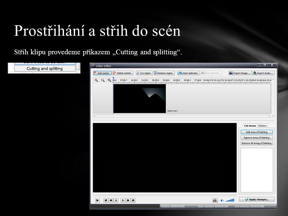 """Pokud nechceme klip rozstřihat na dílčí záběry, ale pouze vynechat určité (nepovedené, nesouvisející, nevhodné) záběry, stačí využít funkce """"Cut region ."""