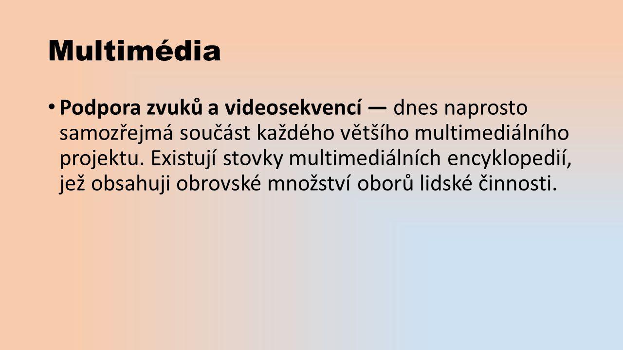 Multimédia Podpora zvuků a videosekvencí — dnes naprosto samozřejmá součást každého většího multimediálního projektu.
