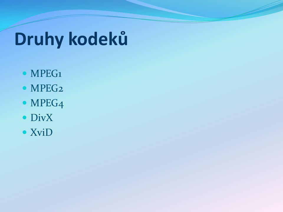 Druhy kodeků MPEG1 MPEG2 MPEG4 DivX XviD