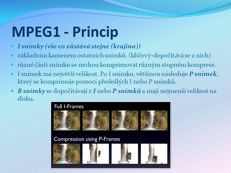 MPEG1 - Princip I snímky (vše co zůstává stejné (krajina)) základním kamenem ostatních snímků.