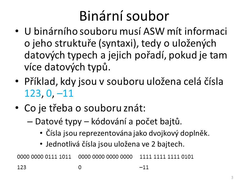 Binární soubor U binárního souboru musí ASW mít informaci o jeho struktuře (syntaxi), tedy o uložených datových typech a jejich pořadí, pokud je tam v