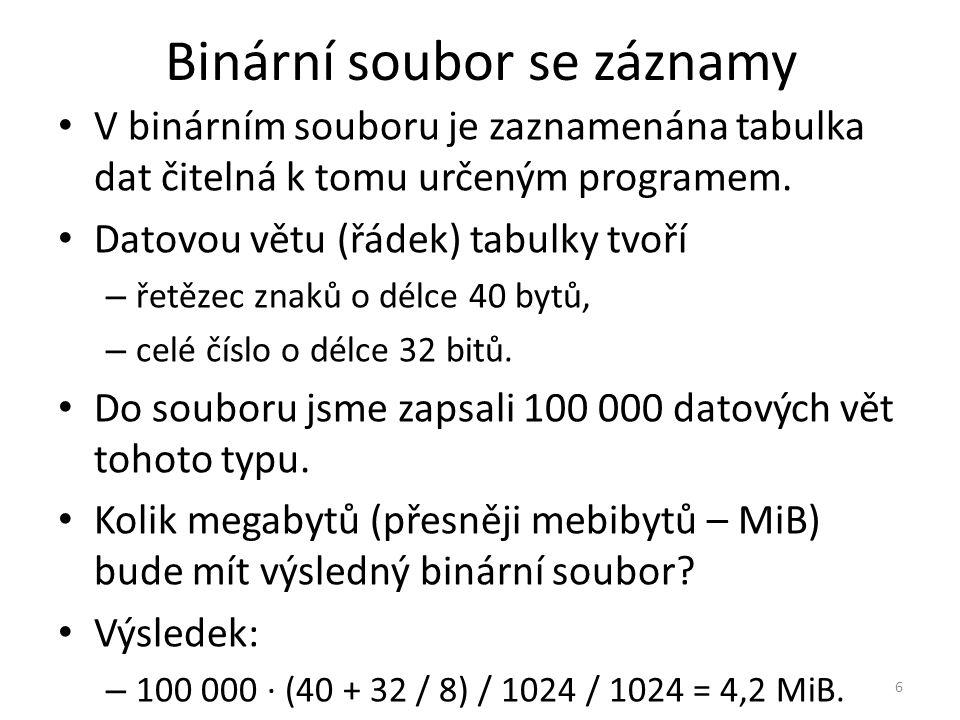 Binární soubor se záznamy V binárním souboru je zaznamenána tabulka dat čitelná k tomu určeným programem. Datovou větu (řádek) tabulky tvoří – řetězec