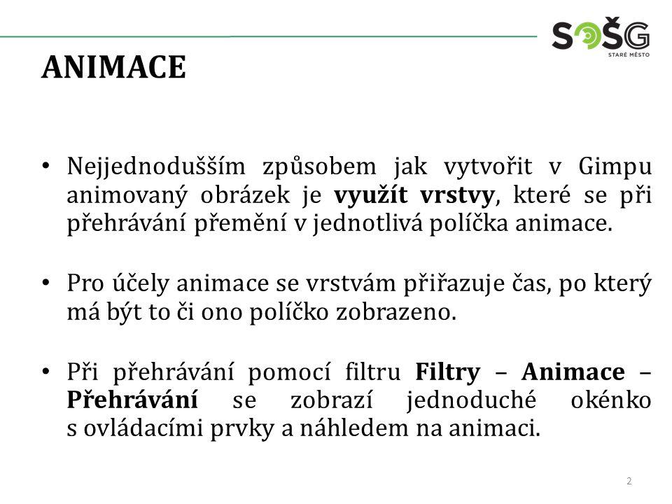 ANIMACE Nejjednodušším způsobem jak vytvořit v Gimpu animovaný obrázek je využít vrstvy, které se při přehrávání přemění v jednotlivá políčka animace.
