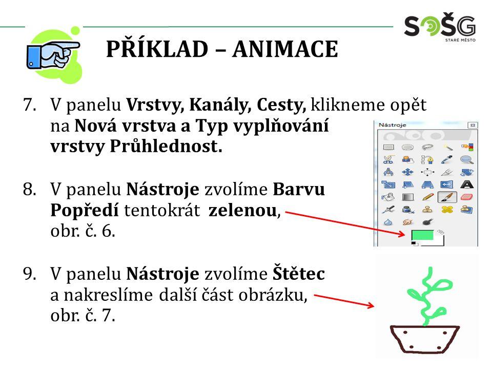 PŘÍKLAD – ANIMACE 7.V panelu Vrstvy, Kanály, Cesty, klikneme opět na Nová vrstva a Typ vyplňování vrstvy Průhlednost.