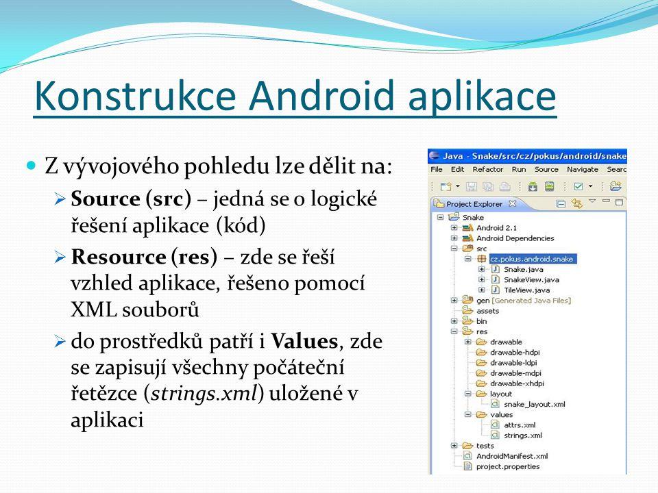 Z vývojového pohledu lze dělit na:  Source (src) – jedná se o logické řešení aplikace (kód)  Resource (res) – zde se řeší vzhled aplikace, řešeno pomocí XML souborů  do prostředků patří i Values, zde se zapisují všechny počáteční řetězce (strings.xml) uložené v aplikaci Konstrukce Android aplikace