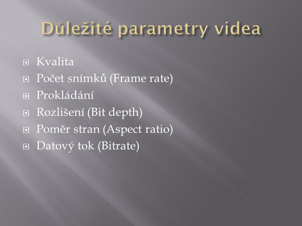  Kvalita  Počet snímků (Frame rate)  Prokládání  Rozlišení (Bit depth)  Poměr stran (Aspect ratio)  Datový tok (Bitrate)