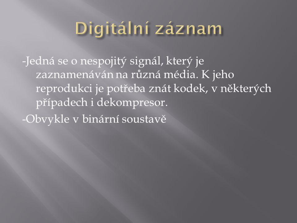 -Jedná se o nespojitý signál, který je zaznamenáván na různá média.