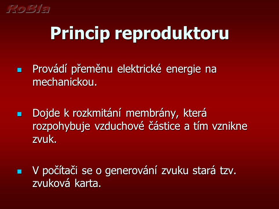 Princip reproduktoru Provádí přeměnu elektrické energie na mechanickou. Provádí přeměnu elektrické energie na mechanickou. Dojde k rozkmitání membrány
