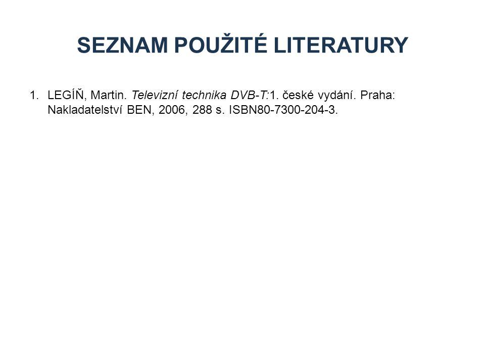 1.LEGÍŇ, Martin. Televizní technika DVB-T:1. české vydání. Praha: Nakladatelství BEN, 2006, 288 s. ISBN80-7300-204-3. SEZNAM POUŽITÉ LITERATURY