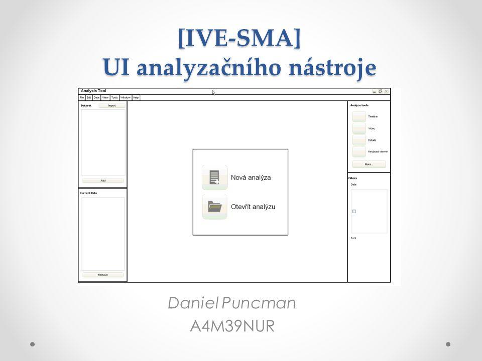 Charakteristika projektu Cíl: o Navrhnout a realizovat uživatelské rozhraní, pro efektivnější práci s daty získaných při usability testech.