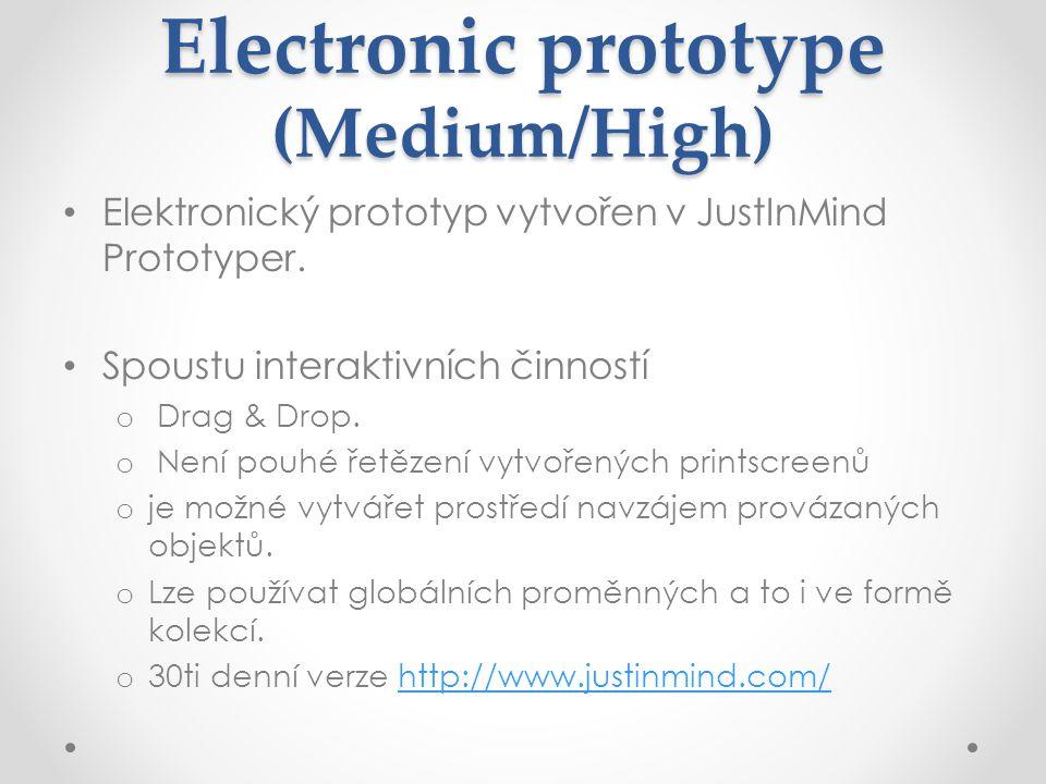 Electronic prototype (Medium/High) Elektronický prototyp vytvořen v JustInMind Prototyper.