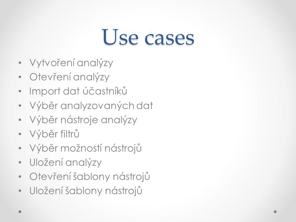 Use cases Vytvoření analýzy Otevření analýzy Import dat účastníků Výběr analyzovaných dat Výběr nástroje analýzy Výběr filtrů Výběr možností nástrojů Uložení analýzy Otevření šablony nástrojů Uložení šablony nástrojů