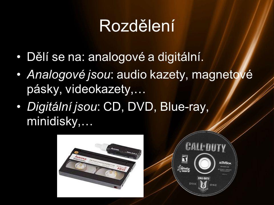 Rozdělení Dělí se na: analogové a digitální.
