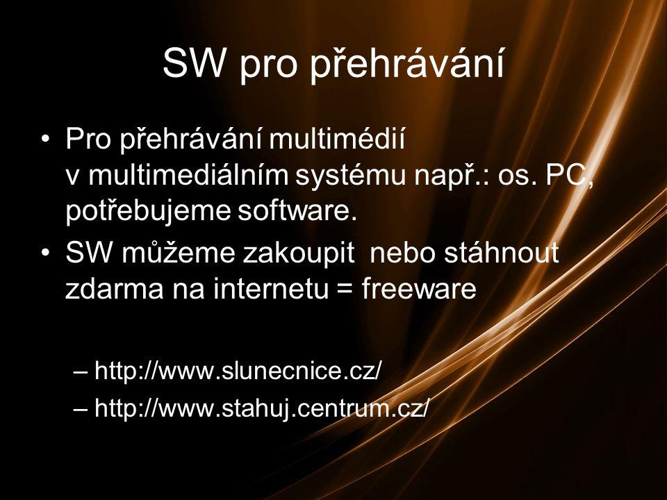 SW pro přehrávání Pro přehrávání multimédií v multimediálním systému např.: os.