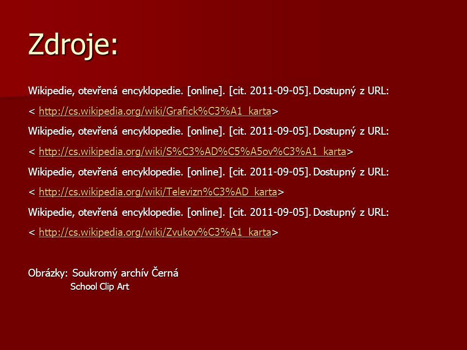Zdroje: Wikipedie, otevřená encyklopedie. [online]. [cit. 2011-09-05]. Dostupný z URL: http://cs.wikipedia.org/wiki/Grafick%C3%A1_karta Wikipedie, ote