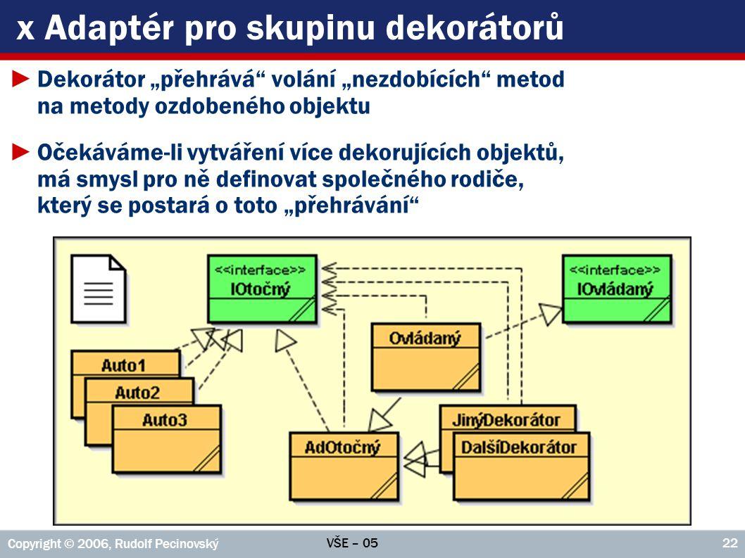 VŠE – 05 Copyright © 2006, Rudolf Pecinovský 23 x Definice společného rodiče public class AdOtočný implements IOtočný { private final IOtočný otočný; public AdOtočný(IOtočný otočný) { this.otočný = otočný; } public Pozice getPozice() { return otočný.getPozice(); } public void setPozice(Pozice p) { otočný.setPozice(p); } //...