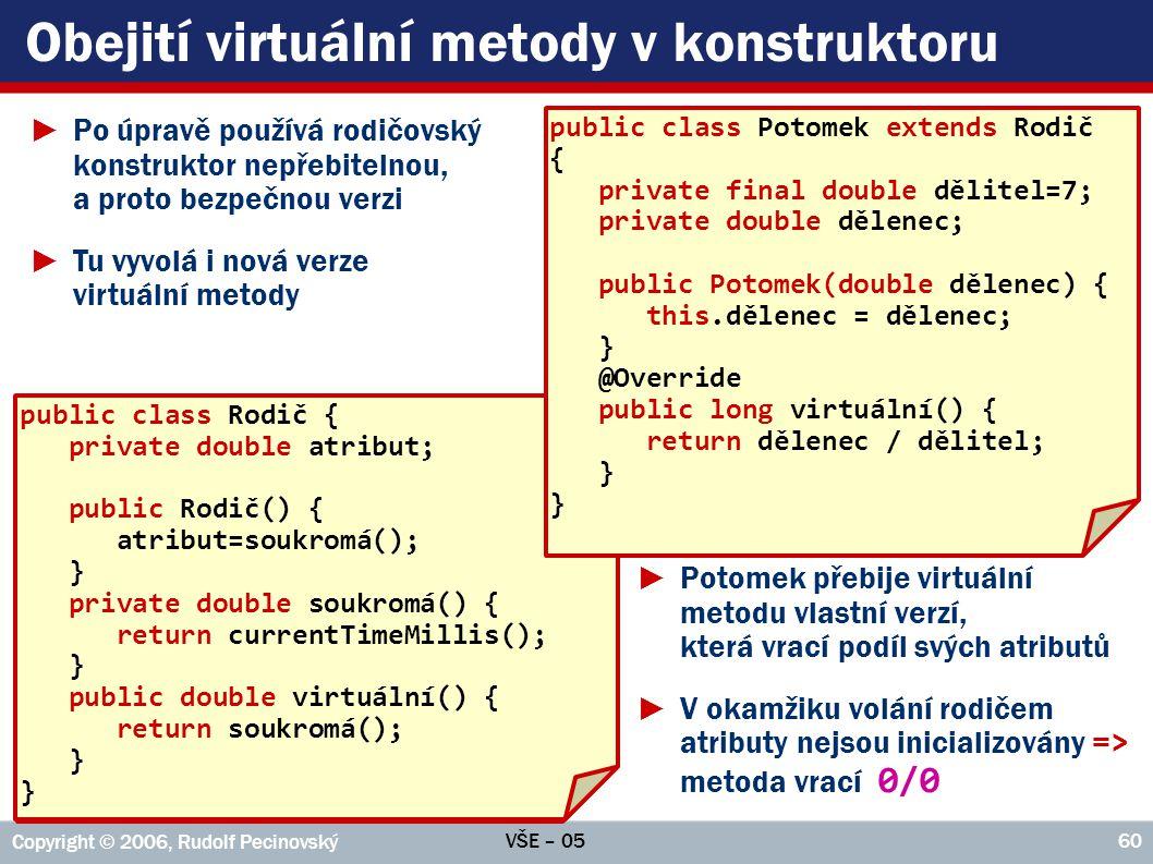 VŠE – 05 Copyright © 2006, Rudolf Pecinovský 61 Akce před voláním rodičovského konstrukt.