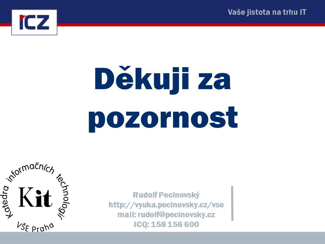 Vaše jistota na trhu IT Děkuji za pozornost Rudolf Pecinovský http://vyuka.pecinovsky.cz/vse mail: rudolf@pecinovsky.cz ICQ: 158 156 600