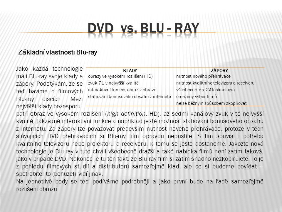 Základní vlastnosti Blu-ray Jako každá technologie má i Blu-ray svoje klady a zápory.