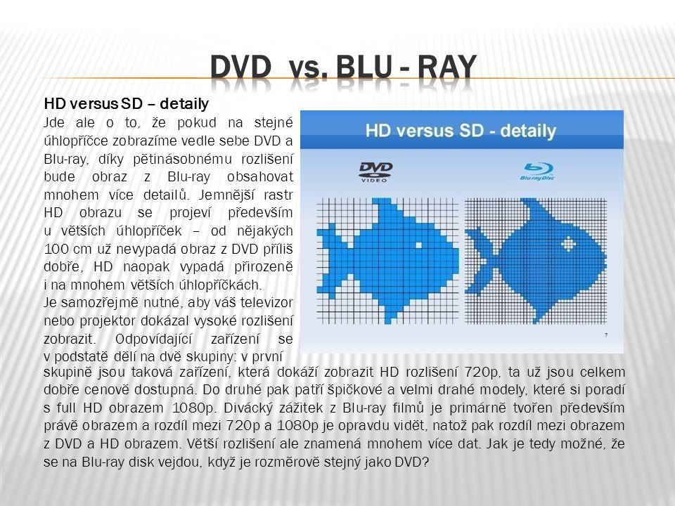 HD versus SD – detaily Jde ale o to, že pokud na stejné úhlopříčce zobrazíme vedle sebe DVD a Blu-ray, díky pětinásobnému rozlišení bude obraz z Blu-ray obsahovat mnohem více detailů.