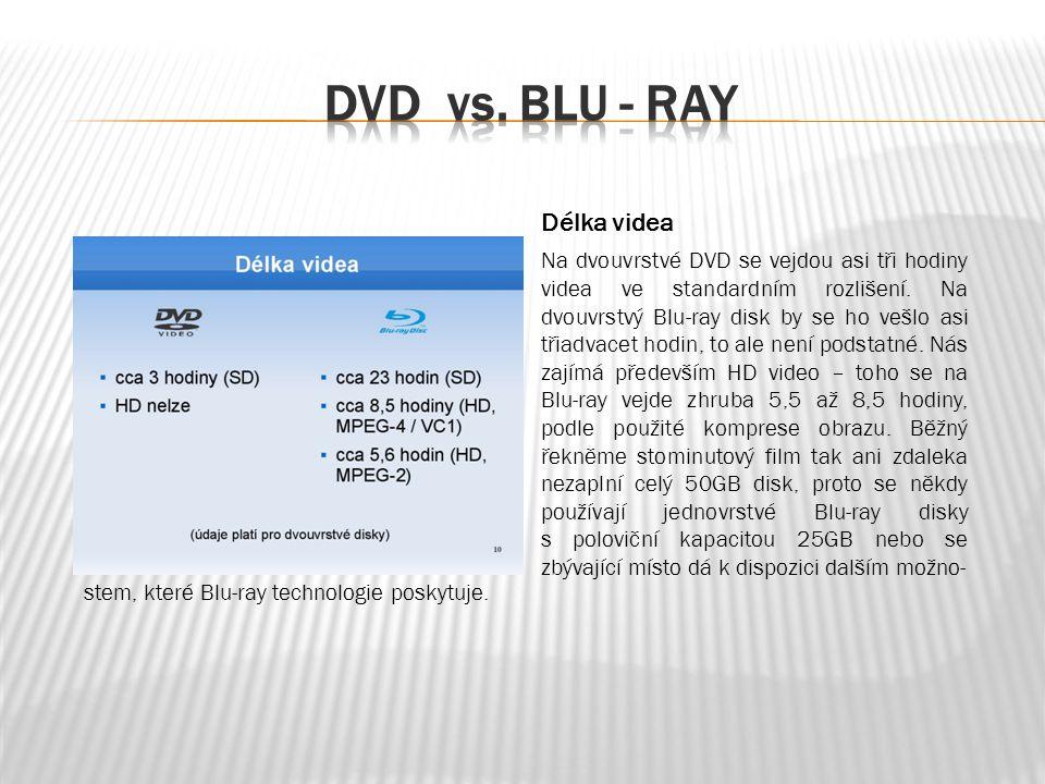 Délka videa Na dvouvrstvé DVD se vejdou asi tři hodiny videa ve standardním rozlišení.