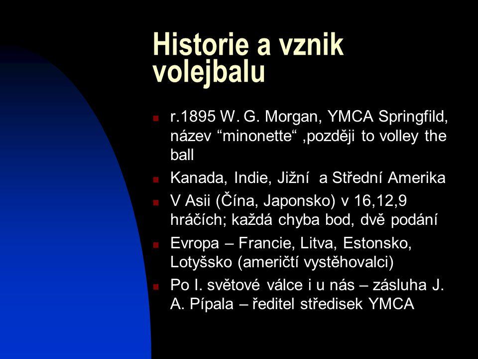 """Historie a vznik volejbalu r.1895 W. G. Morgan, YMCA Springfild, název """"minonette"""",později to volley the ball Kanada, Indie, Jižní a Střední Amerika V"""