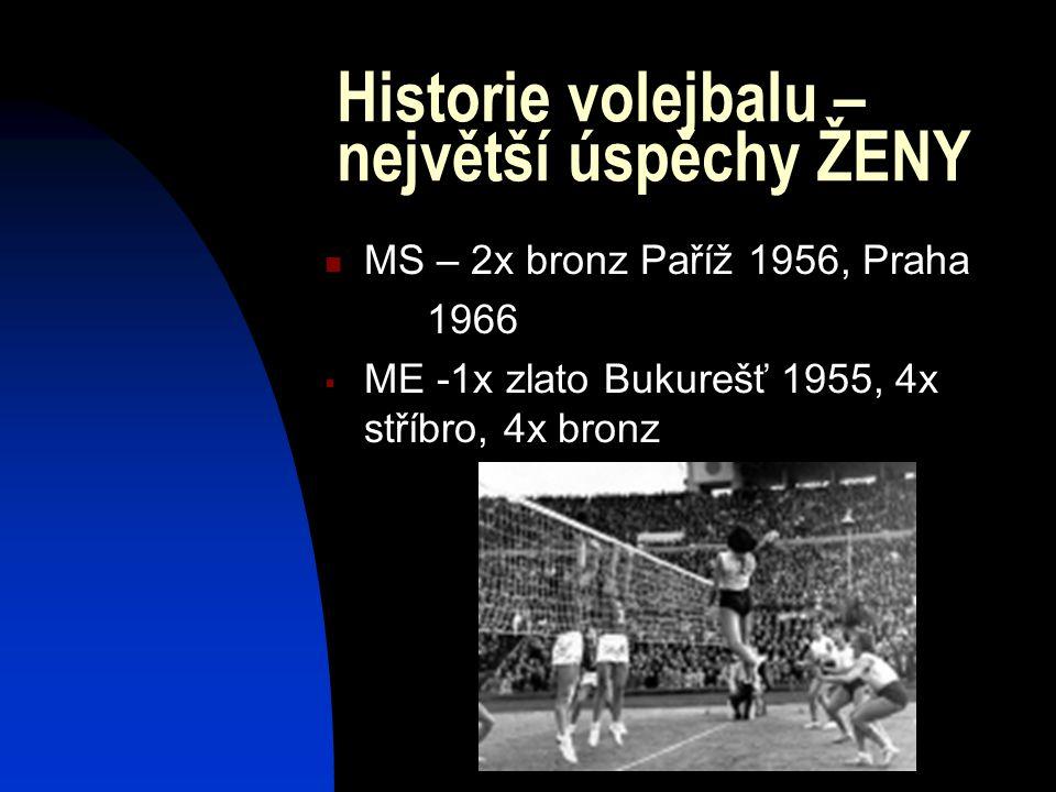 Historie volejbalu – největší úspěchy ŽENY MS – 2x bronz Paříž 1956, Praha 1966  ME -1x zlato Bukurešť 1955, 4x stříbro, 4x bronz