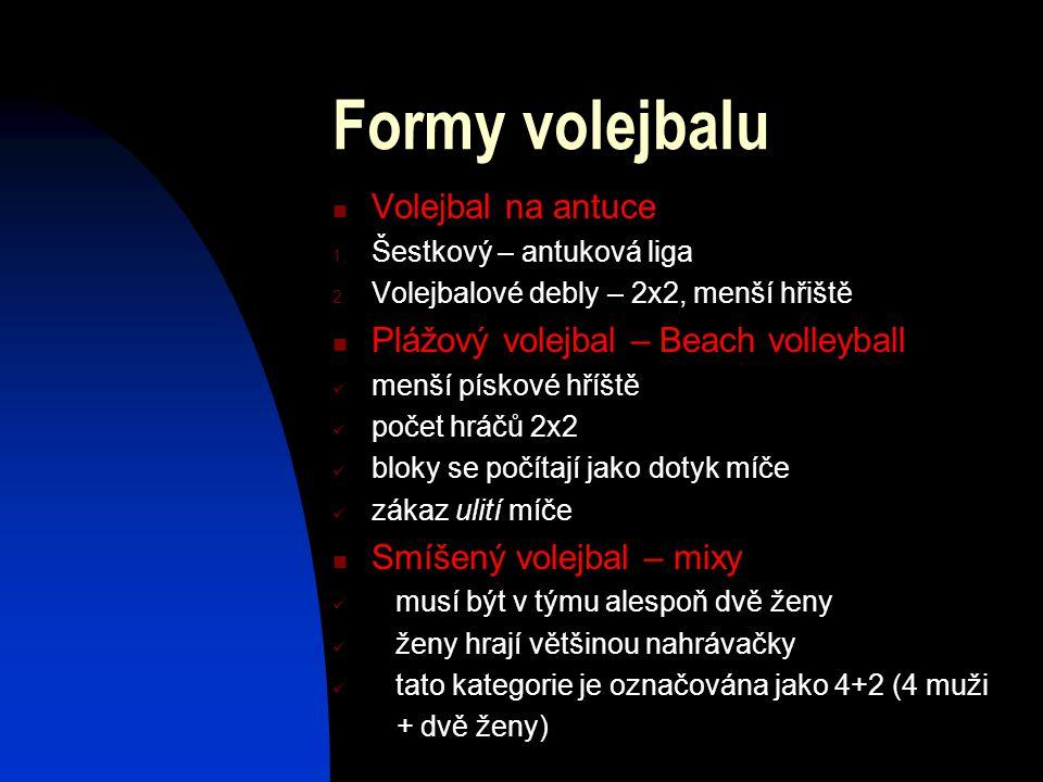 Formy volejbalu Volejbal na antuce 1. Šestkový – antuková liga 2. Volejbalové debly – 2x2, menší hřiště Plážový volejbal – Beach volleyball menší písk