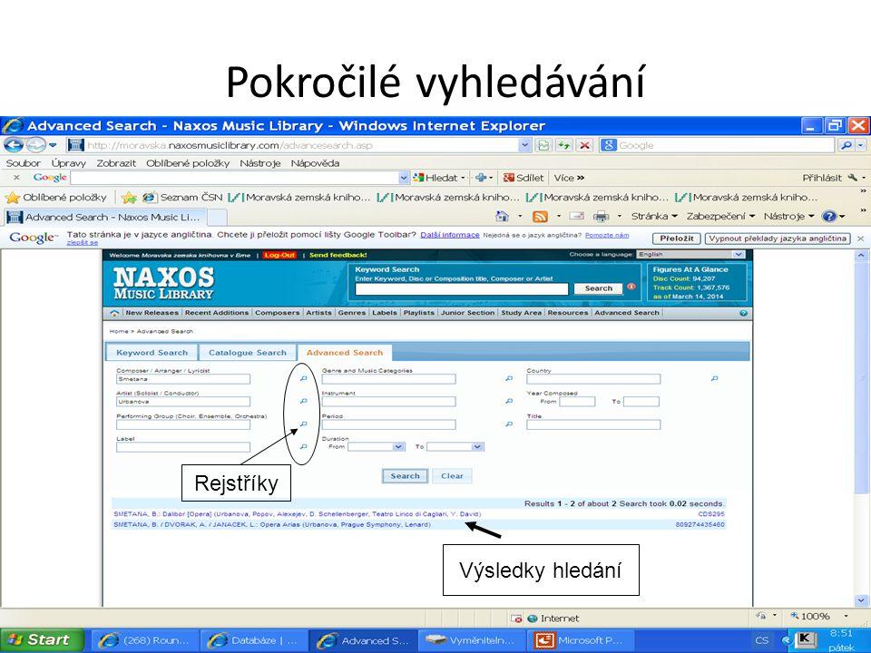 Pokročilé vyhledávání Výsledky hledání Rejstříky