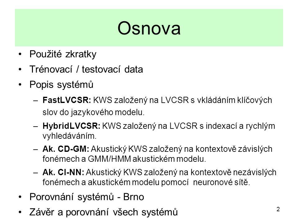 2 Osnova Použité zkratky Trénovací / testovací data Popis systémů –FastLVCSR: KWS založený na LVCSR s vkládáním klíčových slov do jazykového modelu.