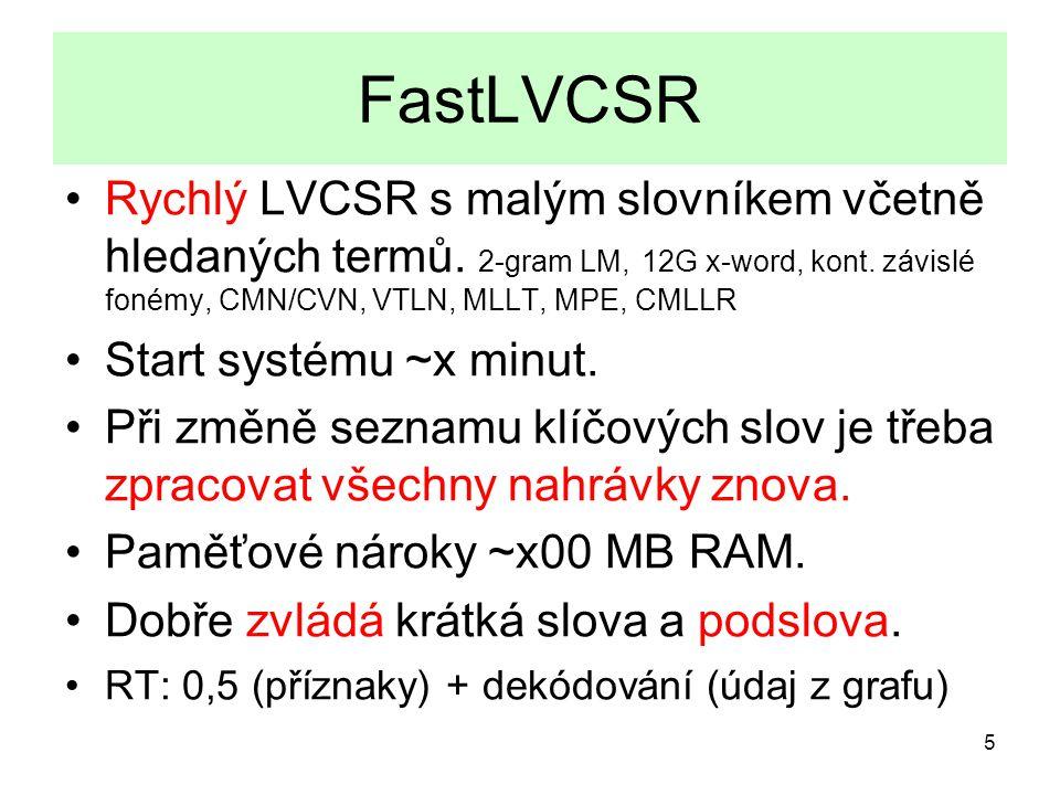 5 FastLVCSR Rychlý LVCSR s malým slovníkem včetně hledaných termů.