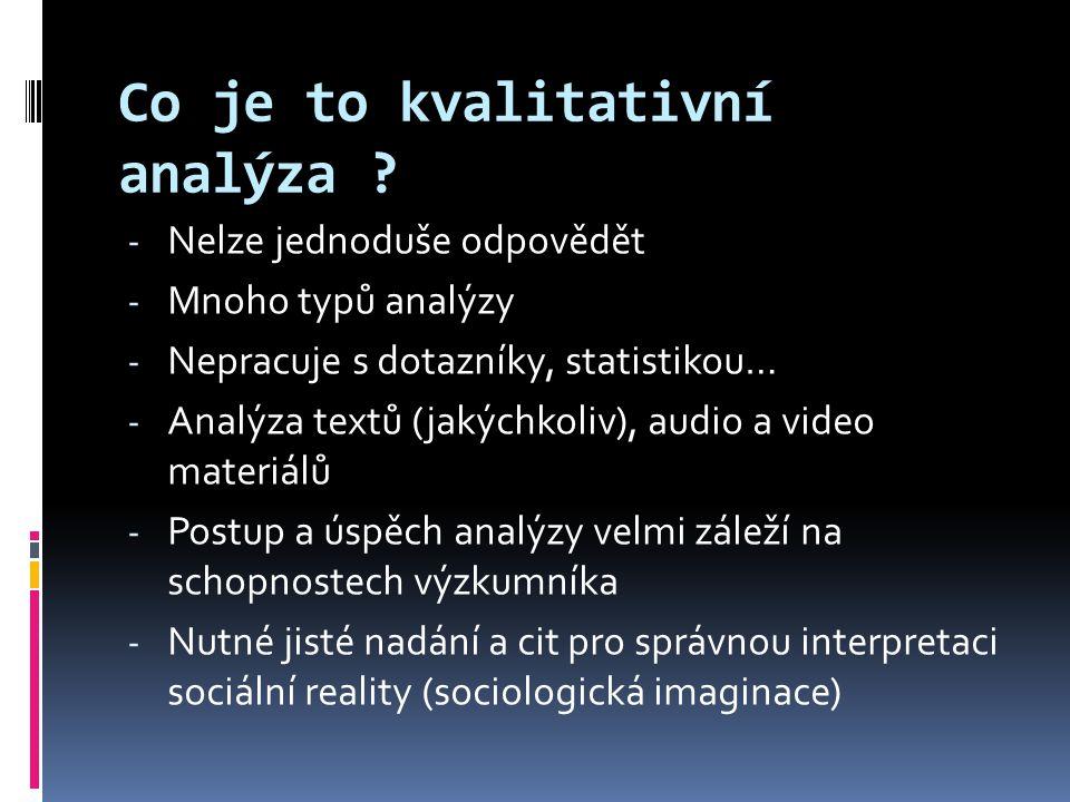 Co je to kvalitativní analýza ? - Nelze jednoduše odpovědět - Mnoho typů analýzy - Nepracuje s dotazníky, statistikou… - Analýza textů (jakýchkoliv),