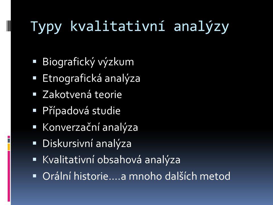 Typy kvalitativní analýzy  Biografický výzkum  Etnografická analýza  Zakotvená teorie  Případová studie  Konverzační analýza  Diskursivní analýz