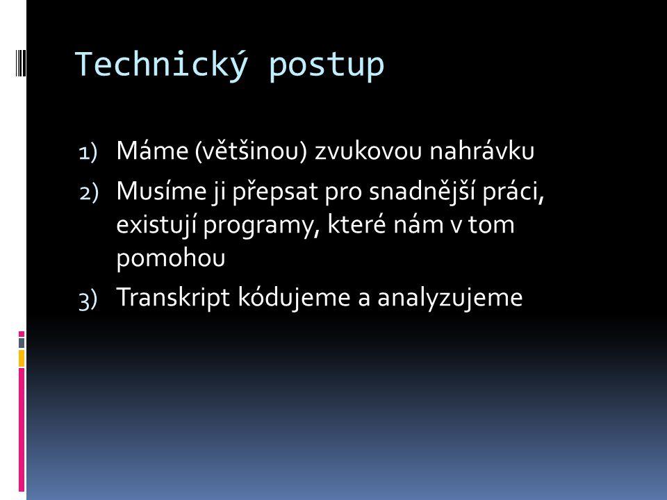 Technický postup 1) Máme (většinou) zvukovou nahrávku 2) Musíme ji přepsat pro snadnější práci, existují programy, které nám v tom pomohou 3) Transkri