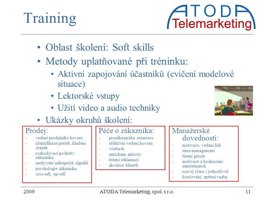 2009ATODA Telemarketing, spol. s r.o.11 Training Oblast školení: Soft skills Metody uplatňované při tréninku: Aktivní zapojování účastníků (cvičení mo