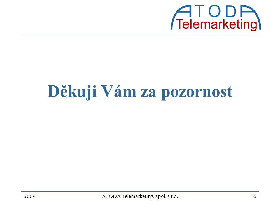 2009ATODA Telemarketing, spol. s r.o.16 Děkuji Vám za pozornost