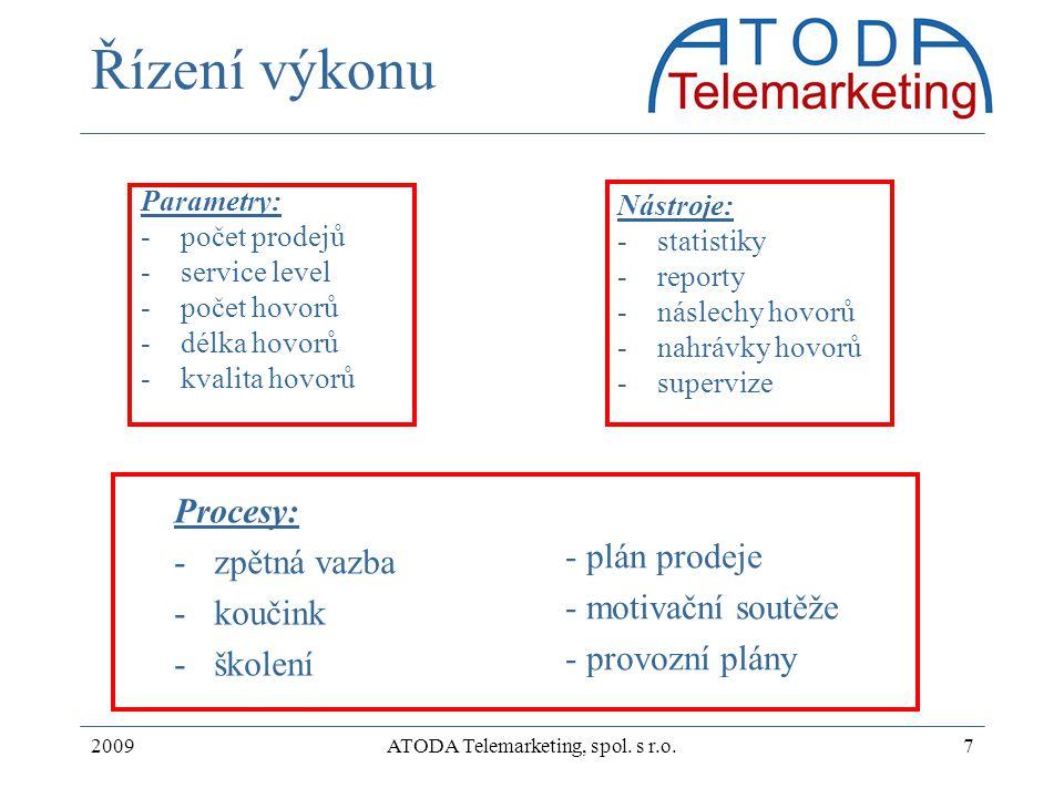 2009ATODA Telemarketing, spol. s r.o.7 Řízení výkonu Parametry: -počet prodejů -service level -počet hovorů -délka hovorů -kvalita hovorů Nástroje: -s