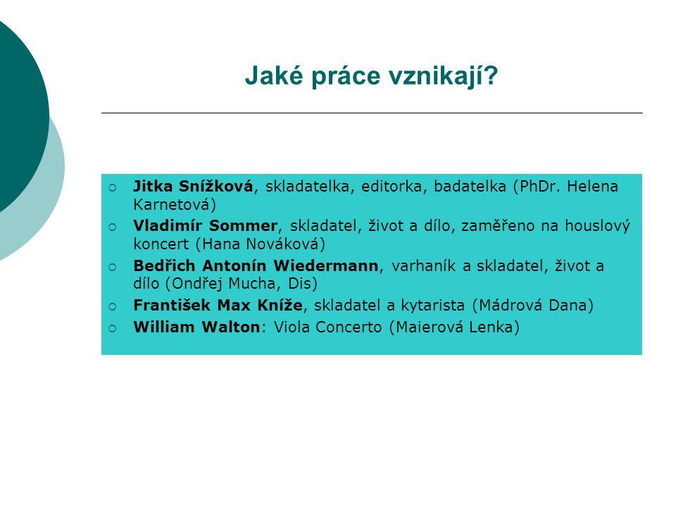 Jaké práce vznikají. Jitka Snížková, skladatelka, editorka, badatelka (PhDr.