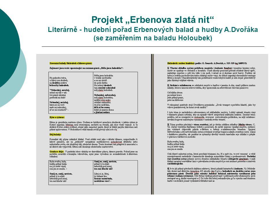 """Projekt """"Erbenova zlatá nit Literárně - hudební pořad Erbenových balad a hudby A.Dvořáka (se zaměřením na baladu Holoubek)"""