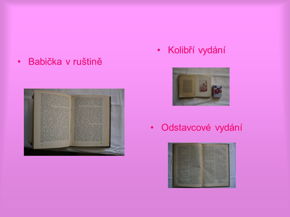 Babička v ruštině Kolibří vydání Odstavcové vydání