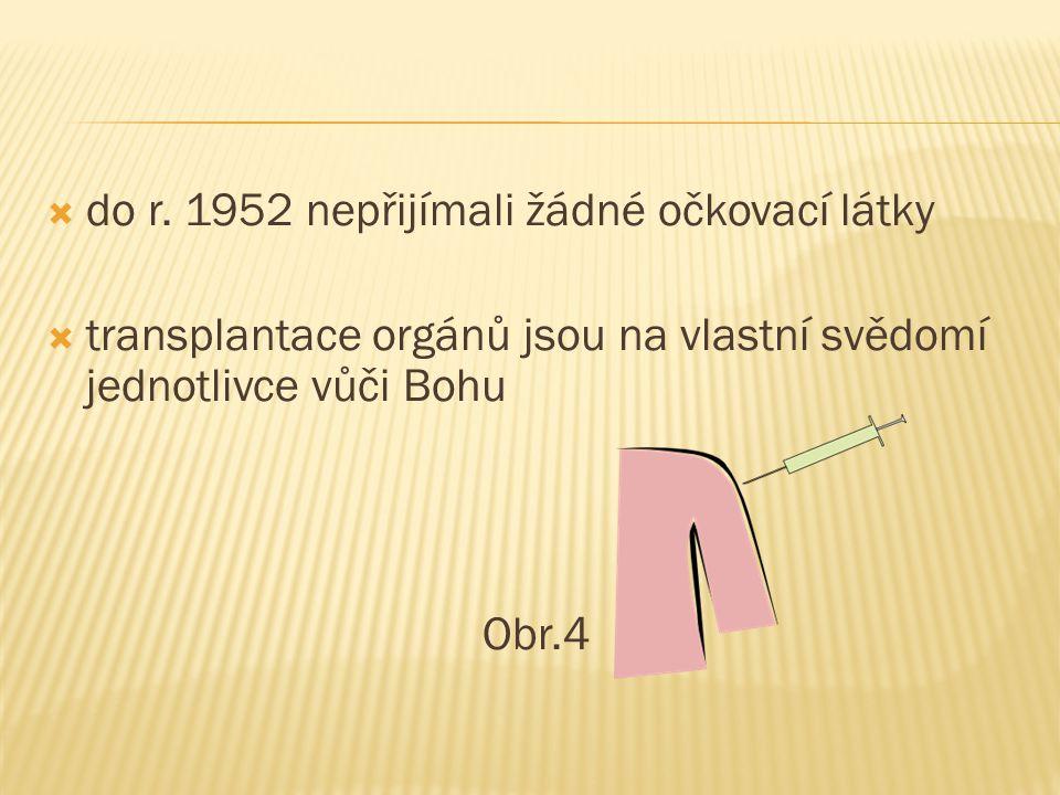  do r. 1952 nepřijímali žádné očkovací látky  transplantace orgánů jsou na vlastní svědomí jednotlivce vůči Bohu Obr.4