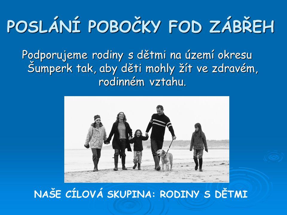 POSLÁNÍ POBOČKY FOD ZÁBŘEH Podporujeme rodiny s dětmi na území okresu Šumperk tak, aby děti mohly žít ve zdravém, rodinném vztahu.