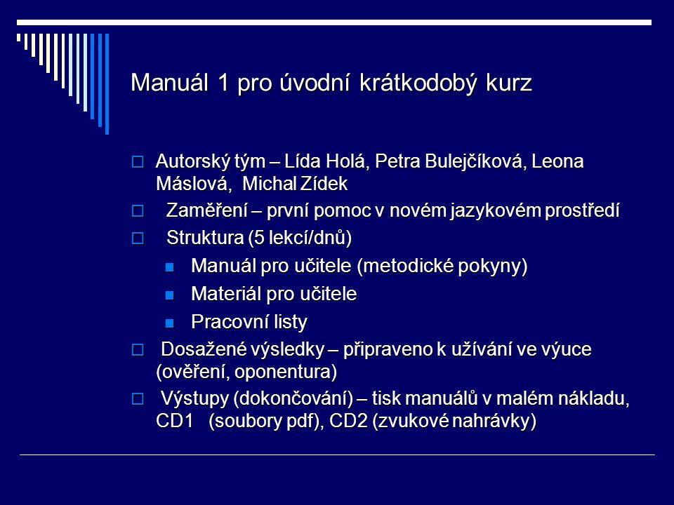 Manuál 1 pro úvodní krátkodobý kurz  Autorský tým – Lída Holá, Petra Bulejčíková, Leona Máslová, Michal Zídek  Zaměření – první pomoc v novém jazyko