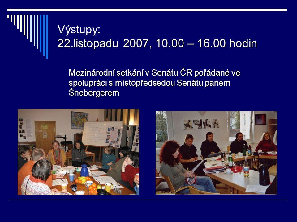 22.listopadu 2007, 10.00 – 16.00 hodin Výstupy: 22.listopadu 2007, 10.00 – 16.00 hodin Mezinárodní setkání v Senátu ČR pořádané ve spolupráci s místopředsedou Senátu panem Šnebergerem