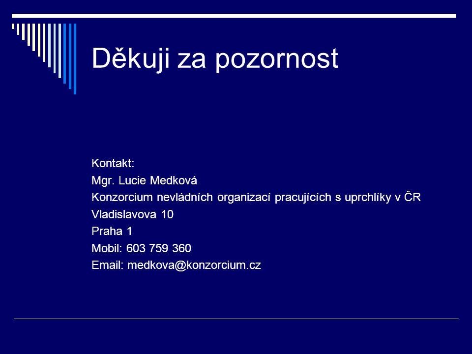 Děkuji za pozornost Kontakt: Mgr. Lucie Medková Konzorcium nevládních organizací pracujících s uprchlíky v ČR Vladislavova 10 Praha 1 Mobil: 603 759 3
