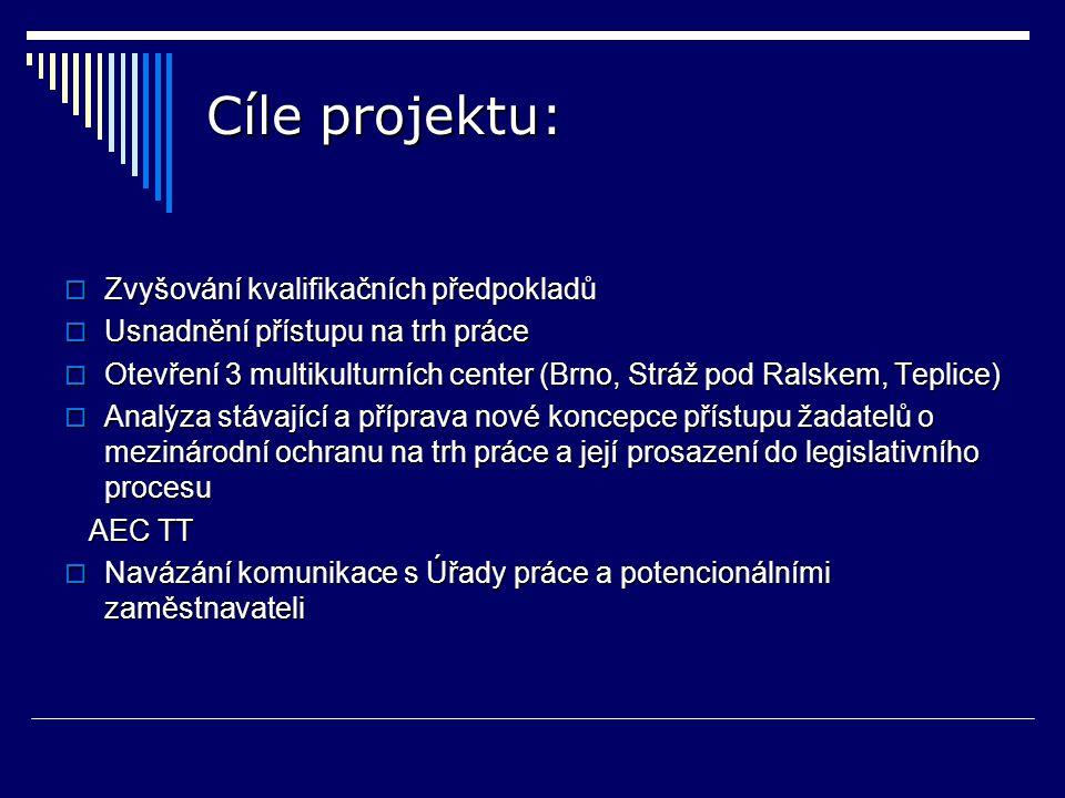 Cíle projektu:  Zvyšování kvalifikačních předpokladů  Usnadnění přístupu na trh práce  Otevření 3 multikulturních center (Brno, Stráž pod Ralskem, Teplice)  Analýza stávající a příprava nové koncepce přístupu žadatelů o mezinárodní ochranu na trh práce a její prosazení do legislativního procesu AEC TT AEC TT  Navázání komunikace s Úřady práce a potencionálními zaměstnavateli